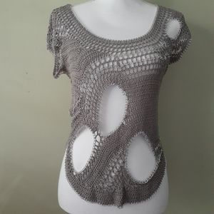 Bebe Crochet Top with Chains